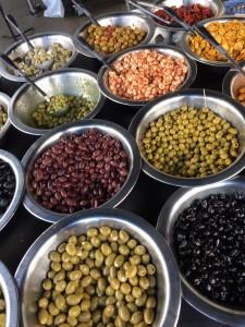 Olives on sale at Stepney City Farm's farmers market